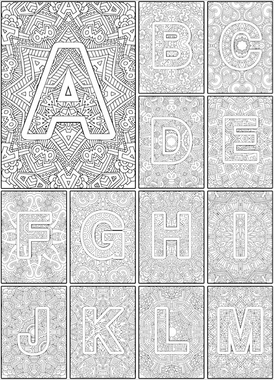alphabet coloring pages for grown ups color the alphabet adult coloring book by sarah