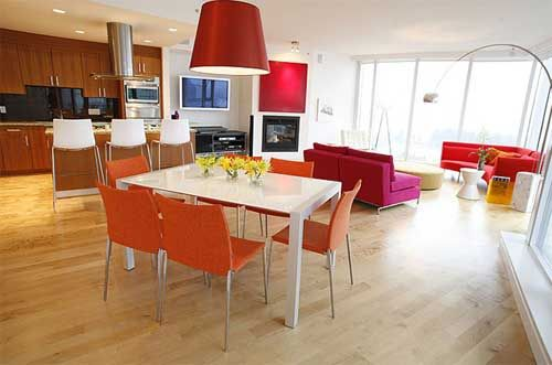 Kitchen:Modern Kitchen Rectangle White Teak Wood Dining Table Vases Orange Dining Chairs Drum Pendant Red Modern Incandescent Serena D'Itali...