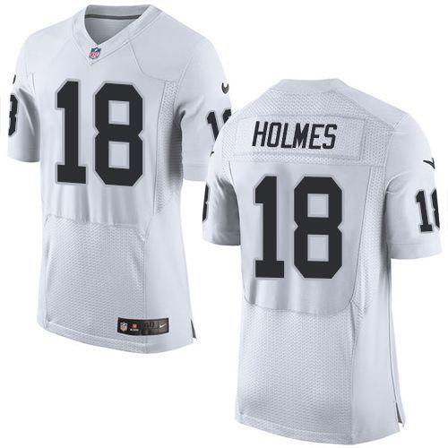 Men's NFL Oakland Raiders #18 Holmes White Elite Jersey