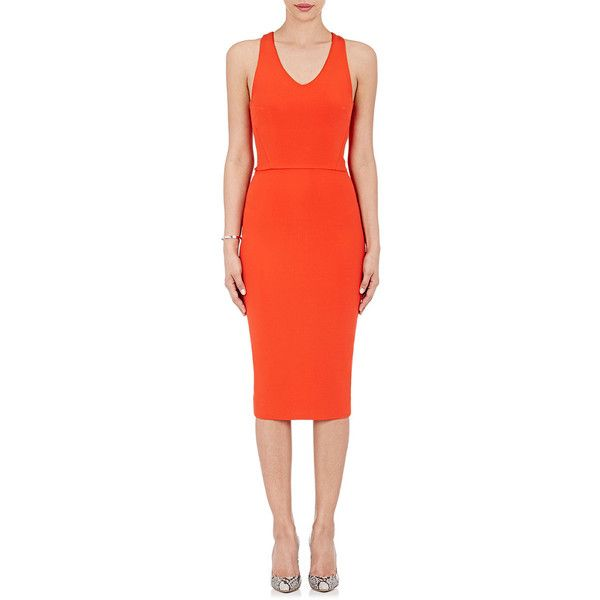 Victoria Beckham Fitted Sheath Dress featuring polyvore, women's fashion, clothing, dresses, red, red zipper dress, form fitted dresses, red v neck dress, full length dress and fitted dresses