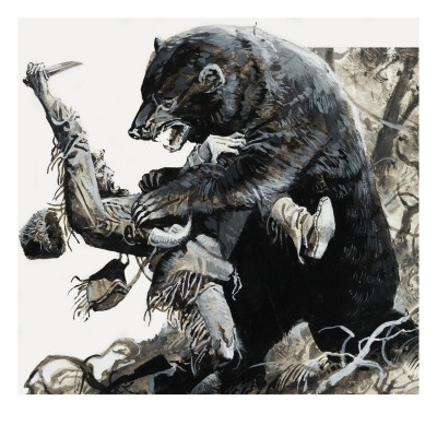 Hugh Glass found his head inside the mouth of a big blond Griz, then thrown like a rag doll, ending up on the ground with a gash down his entire body, head to ankle. With Glass near death, the other hunters were going to remain with Glass until he died. Instead, they left him after a day, thinking he was sure to pass. Glass didn't. Alone, he crawled 325 miles to Fort Atkinson and survived, only to be killed by Arikaras 10 years later along the Yellowstone.