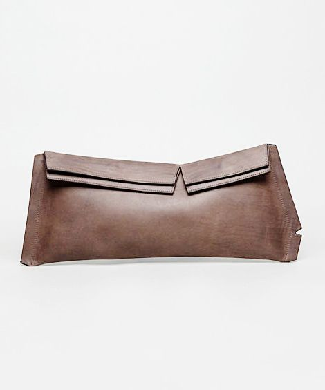 Brown Leather Clutch - chic style, minimalist bag // Maison Martin Margiela