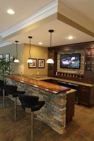 Basement bar with stone