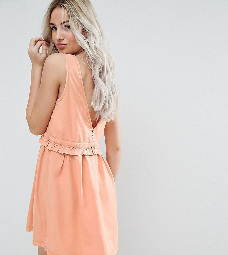 Noisy May Petite Drawstring Dress With Button Back Detail - Orange