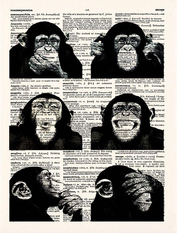 BUY 1 GET 1 FREE Funky Monkey Art Print Dictionary Art by demeraki