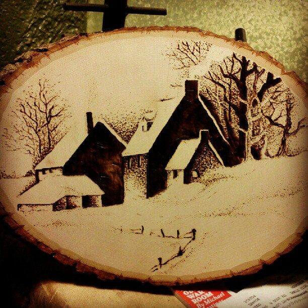 Winter Farm House Pyrography Wood Burning by TheArtsofTimeandLife