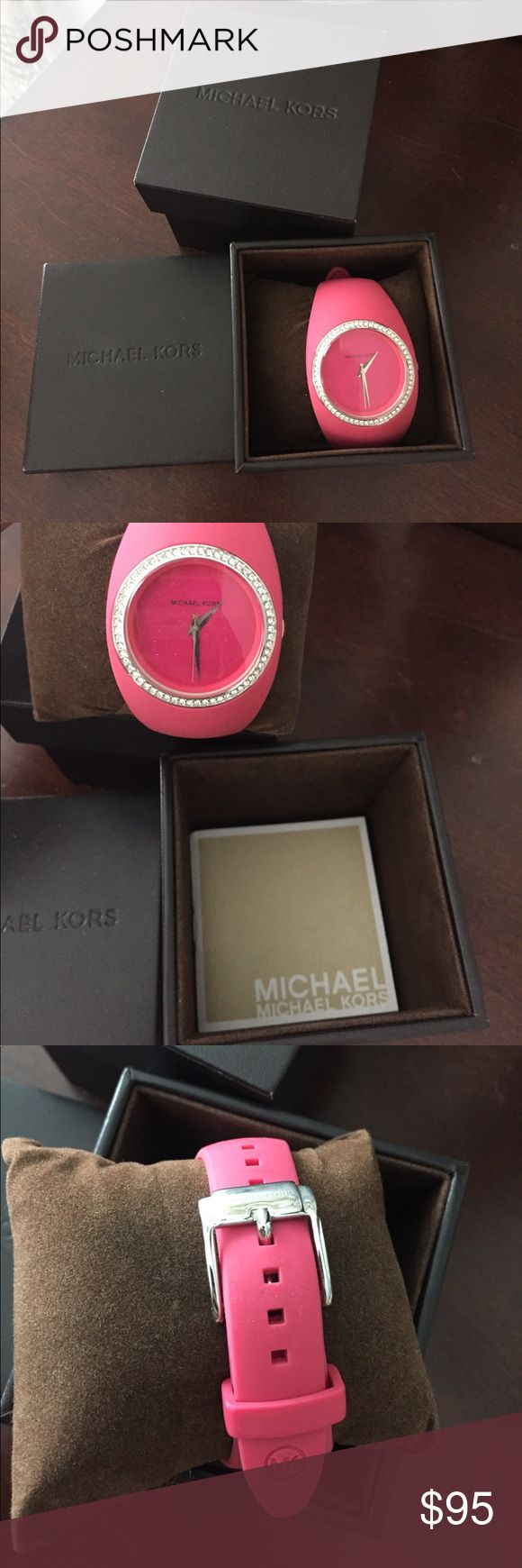 New Michael Khors pink watch New, michael khors pink rubber watch with Swarovski crystals on face of watch. Needs new battery Michael Kors Accessories Watches