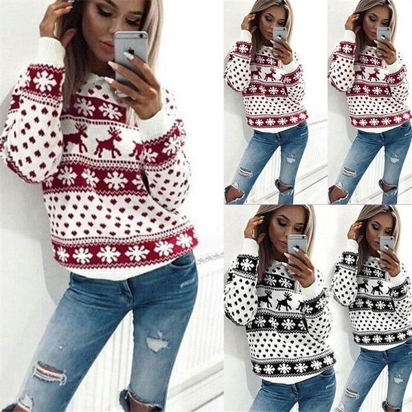 ad0e787f8e2 New Chic Women Christmas Snowflake Reindeer Jumper Oversize Knit Sweater Top