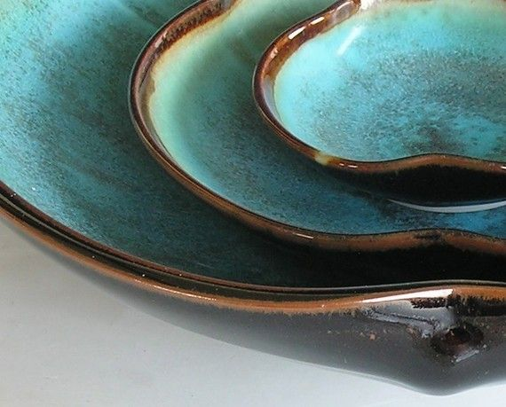 Nesting Bowl Set- Made to Order - Turquoise Black Brown Ceramic Pottery - Set of 3