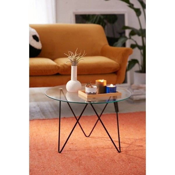 Anderson Glass Coffee Table (€145) ❤ liked on Polyvore featuring home, furniture, tables, accent tables, glass accent table, glass occasional tables, urban outfitters furniture, urban outfitters and glass furniture