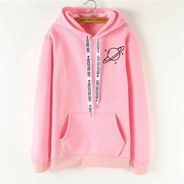 2018 new hoodie women's black large size printed pullover
