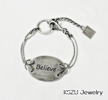 KSZU- Believe Silver Oval Plate Bracelet [light]