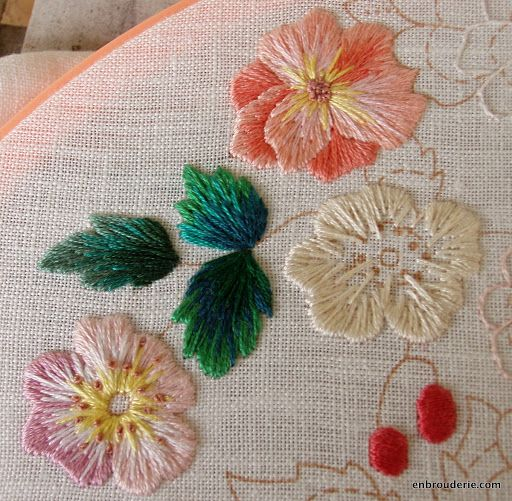 Flowers in long and short stitch embroidery pinterest