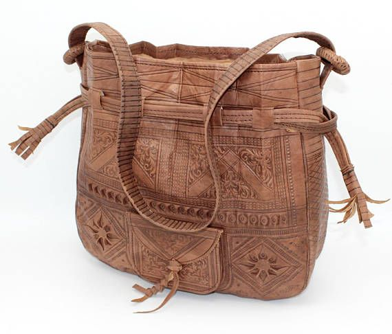 Leather bucket bag  Leather bag women Leather embossed