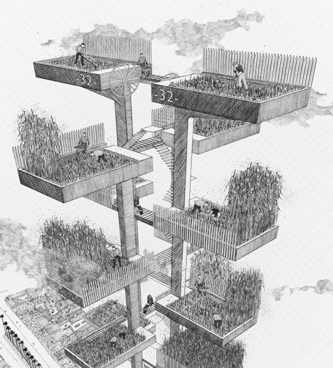 This series of hand drawings by Bartlett School of Architecture graduate Ned Scott presents a science-fiction world in which London grows a jungle of crops for fuel and food next to Buckingham Palace.