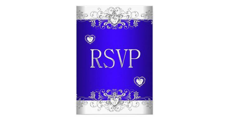 RSVP Reply Response Elegant 25th Wedding Anniversary Royal blue Wedding Silver White Diamond Hearts Jewel. Elegant Classy All Occasion Just change. Party birthday invites Template
