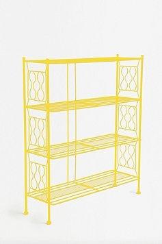 Cute bookshelf in sunny yellow!