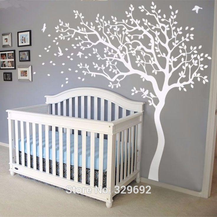 Huge White Tree Wall Decal 213 X 210CM