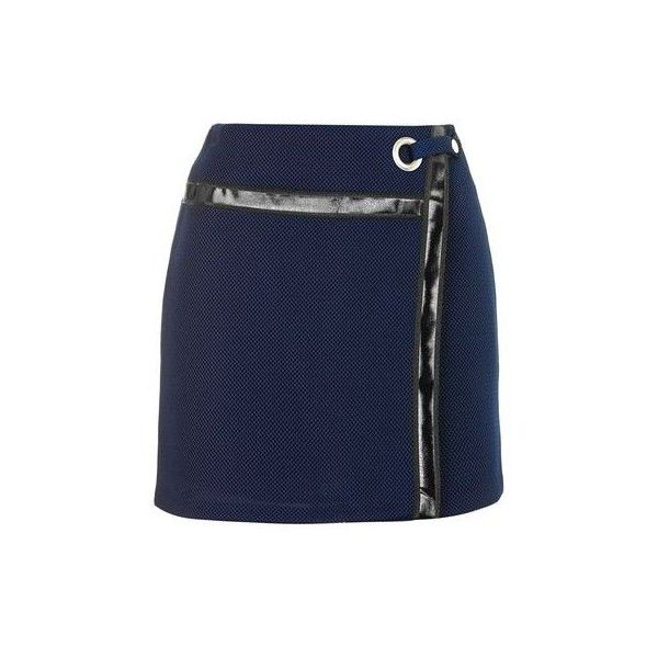 TopShop Tape Airtex Skirt ($48) ❤ liked on Polyvore featuring skirts, mini skirts, navy blue, topshop skirts, mini skirt, navy mini skirt, short skirts and blue skirt