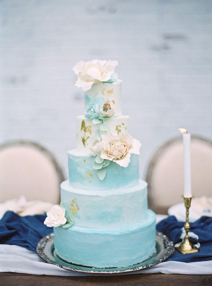 Aquamarine Marble Wedding Cake