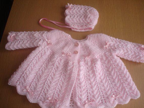 Baby girls pink BOW hand knit layette matinee by xxdaisychainsxx, $40.00