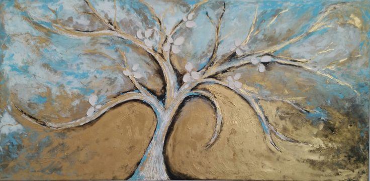 Strom života...   Obraz maľovaný na plátne s plastickym podkladom ,kombinovanou technikou.  Použité kvalitné akrylové farby..