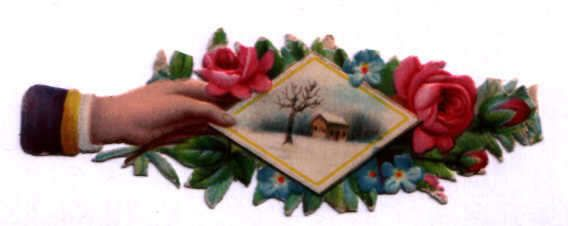 #58 victorian die-cut scrap vintage German circa 1890 hand with card & flowers