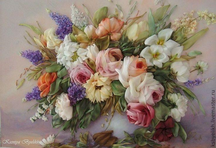 """Купить Букет в вазе """"Розы"""" - картина в подарок, Вышивка лентами, подарок женщине, розы"""