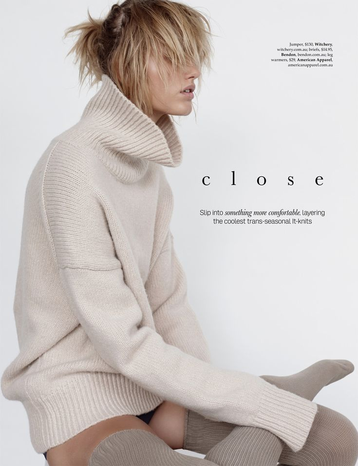 """Close Knit"" for Elle Australia February 2015 Photographer: Stephen Ward Stylist: Sara Smith Hair: Koh at Vivien's Creative Make-up: Molly Oakfield at Company1 Model: Louise Mørck Mikkelsen"