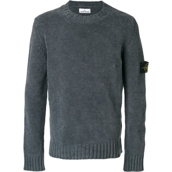 Stone Island knitted jumper (940 BRL) ❤ liked on Polyvore featuring men's fashion, men's clothing, men's sweaters, grey, mens gray sweater, mens grey sweater, mens cotton sweaters, mens crew neck sweaters and mens grey crew neck sweater
