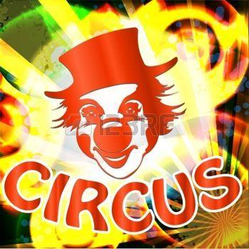 clown: cirque panneau d'affichage avec visage de clown Banque d