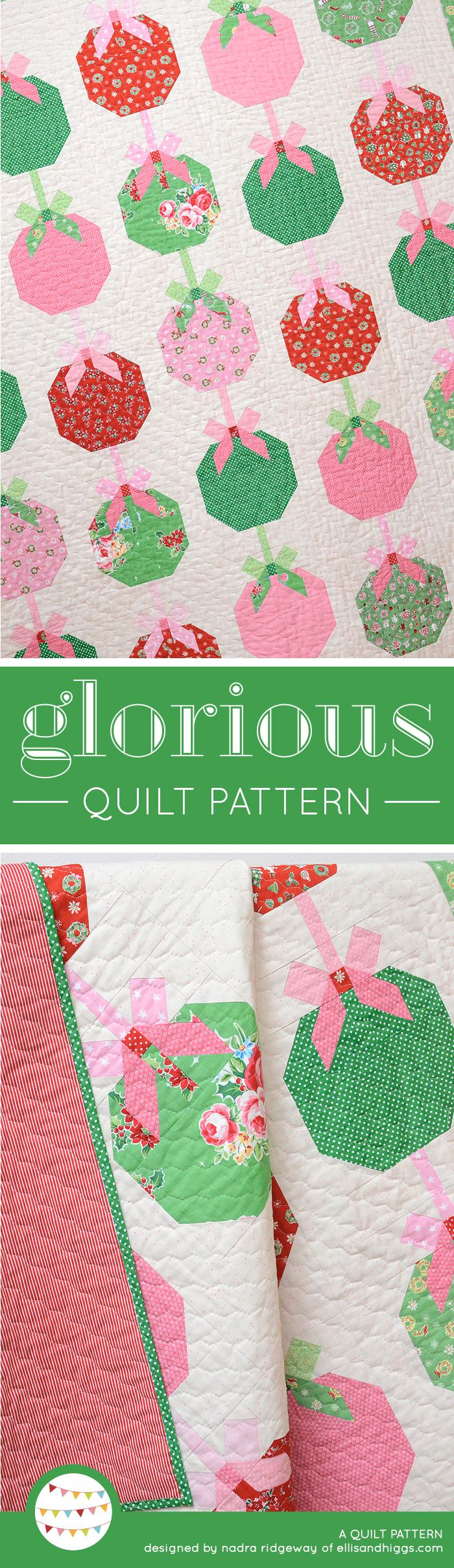 Glorious Christmas quilt pattern by Nadra Ridgeway of ellis & higgs. Patchwork pattern, easy quilt pattern, Christmas quilt ideas, Christmas crafts, Christmas DIY craft project, Winter crafts, Christmas quilt block, Bauble quilt block. Patchwork Anleitung, Patchworkdecke, Patchwork Ideen, Weihnachten, Weihnachtsquilt, Christbaumkugeln, Weihnachtsgeschenke nähen, Weihnachtsgeschenke selber machen.