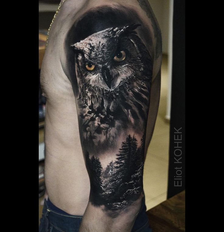 Realism half sleeve with an owl portrait and a forest. Tattoo by Eliot ...