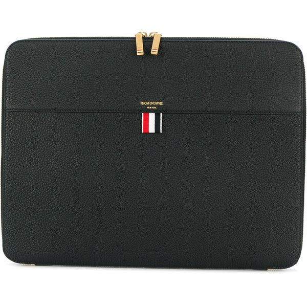 Thom Browne Zip Around Soft Document Wallet (28X37 Cm) In Tumbled Calf... (1,665 CAD) ❤ liked on Polyvore featuring men's fashion, men's bags, men's wallets, black and mens zip around wallet