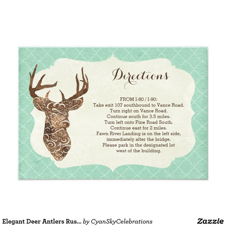 """Elegant Deer Antlers Rustic Country Directions Card Embrace the majestic spirit of nature! This timeless wedding theme features artistic watercolor styling on an elegant deer silhouette with fine quatrefoil pattern accents. A trendy way to bring rustic woodland charm to your country-styled ceremony! Easy customization! Simply replace the template text with your own details. Click the """"Customize It"""" button to change fonts, add additional text, or move and re-size text as needed."""