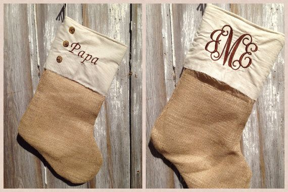 Burlap Button Down Monogrammed Stocking by SteffaneB on Etsy, $20.00