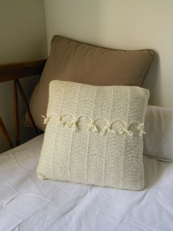 Vintage Retro Cream Cushion Cover Handmade by FromParisToProvence