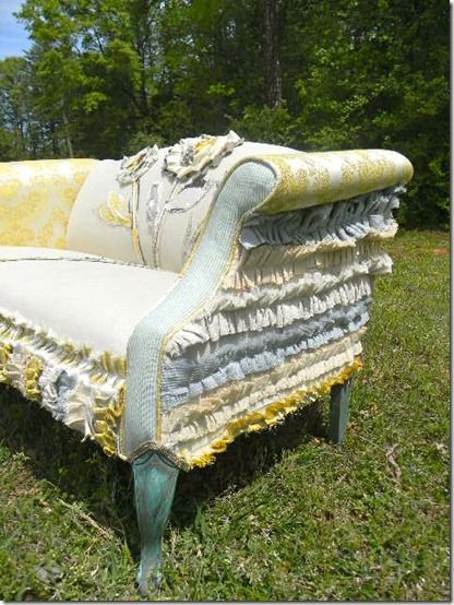 rufflesSewing Room, Ideas, Girls Lace And Ruffles, Shabby Chic Diy Projects, Couch, Little Girls Room, Happy Chairs, Furniture, Vintage Sofa