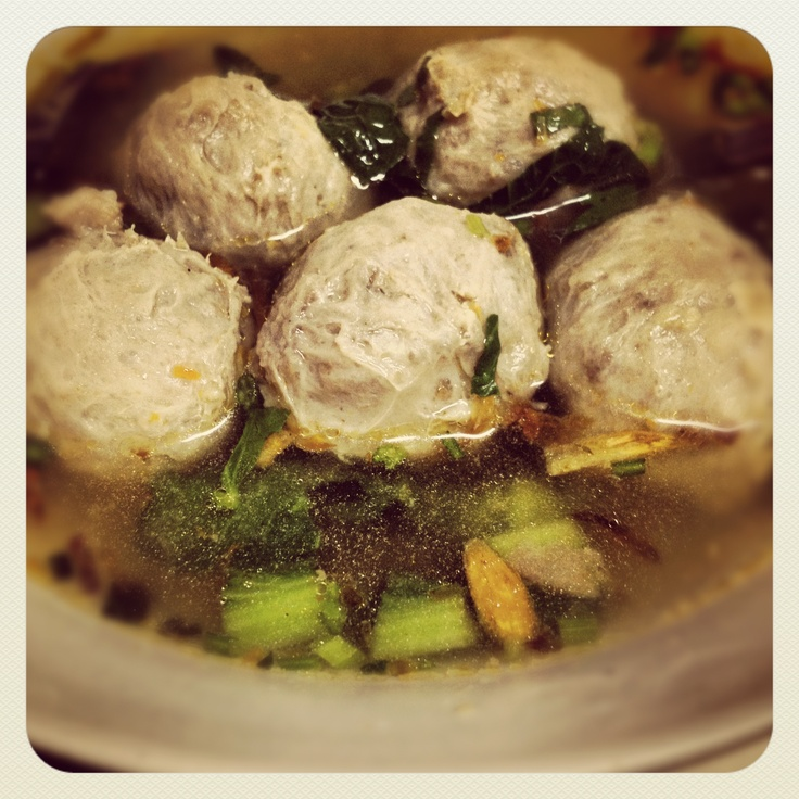 "Beef meat ball, delicious, we in Indonesia named it ""Bakso""."