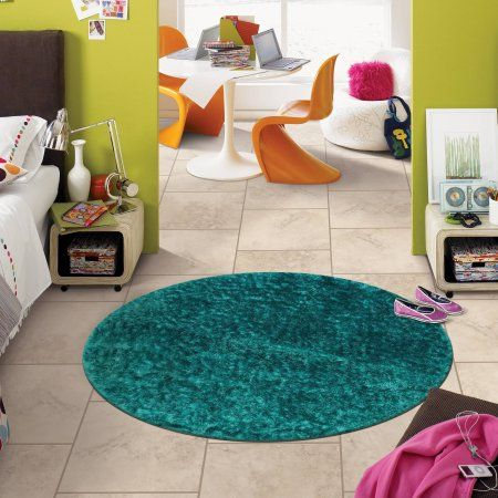your zone round shag rug, Blue