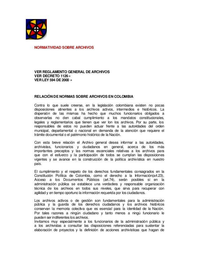 Legislacion archivistica colombia