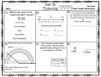 4th math review grade worksheets pdf