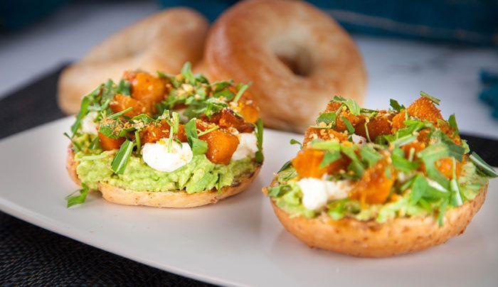 Moroccan Spiced Pumpkin, Labneh & Avocado Bagel | Good Chef Bad Chef