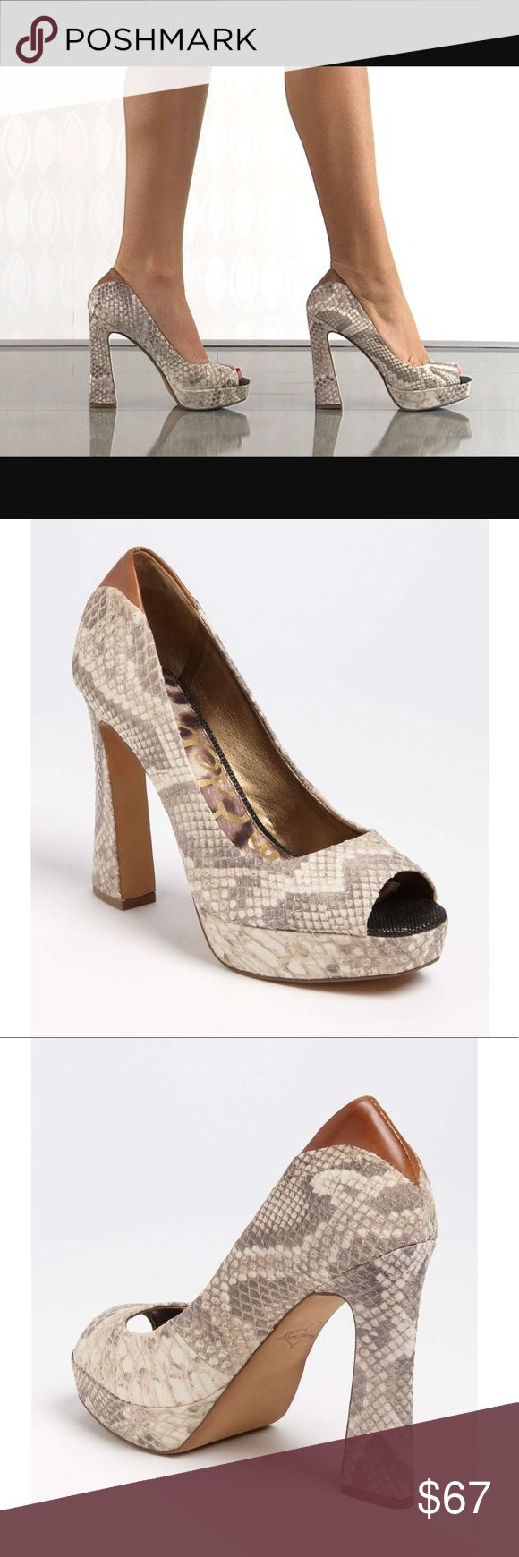 Sam Edelman snakeskin tacoma flared high heel Worn once! Size 7.5. Genuine leather upper. Please see the 7th picture for additional details and features. Super cute flared heel and definitely a showstopper! Sam Edelman snakeskin tacoma flared high heel. Retail at $150! Sam Edelman Shoes Heels