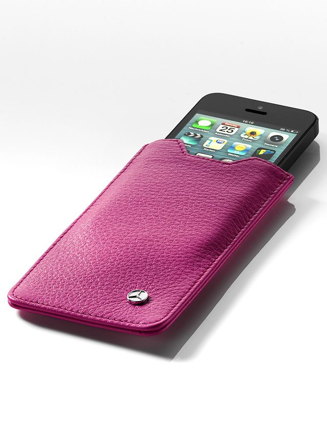B66951641  This elegant pink sleeve for the iPhone 5 is made from finest Italian calfskin.  The handy opening makes it easy to slide the iPhone 5 out.  The sleeve has a grey lining and features a discreet Mercedes star logo stud.  - handmade in Germany  - size: approx. 134 x 74 x 5 mm