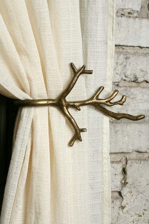 #Curtain tie-back ~ twig, tree branch ~ LOVE THIS! Suits my #pagan heart just fine. :-)