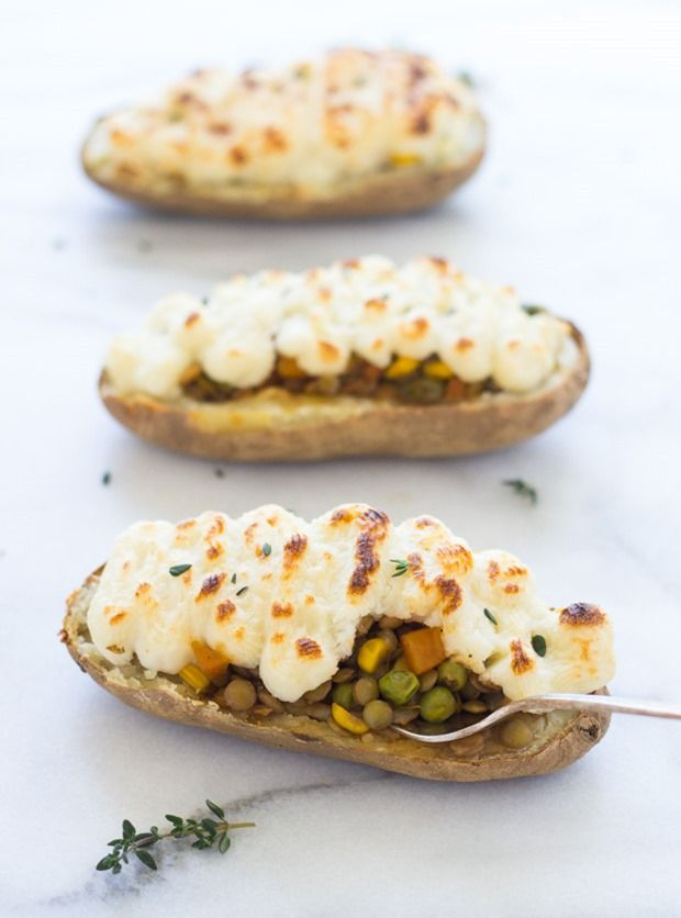 Twice Baked Lentil Shepherd's Pie Potatoes #vegetarian #glutenfree