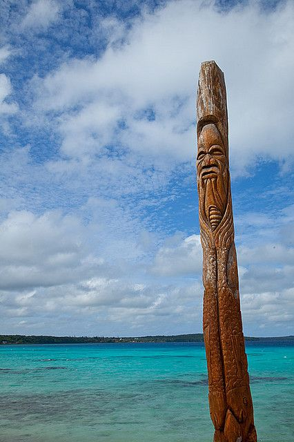 Wooden statue. Lifou one of the Loyalty Islands New Caledonia Pacific Ocean