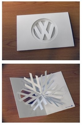 Creative merry christmas card from Volkswagen.