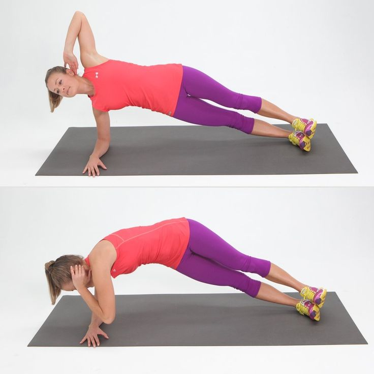 Side elbow plank with a twist works the obliques and helps tone the love handles.